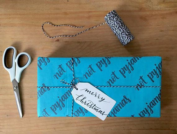 Christmas wrapping paper, hand stamped paper, funny gift wrapping, Kraft paper, not pyjamas wrapping paper
