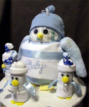 PENGUIN BLUE Baby Shower Gift Boy Diaper Cake Decorations