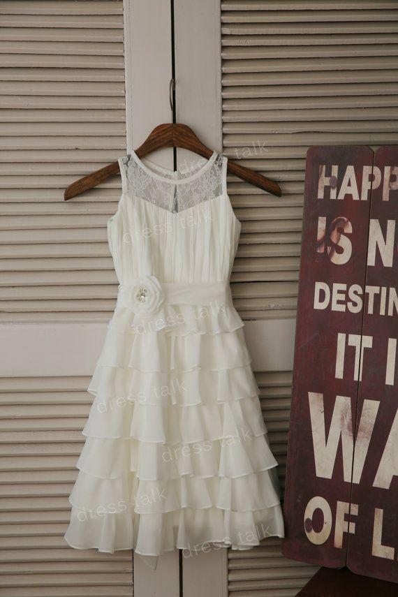 Ivory Chiffon Lace Flower Girl Dress Cupcake Dress Toddler/ Baby Girl Dress for…