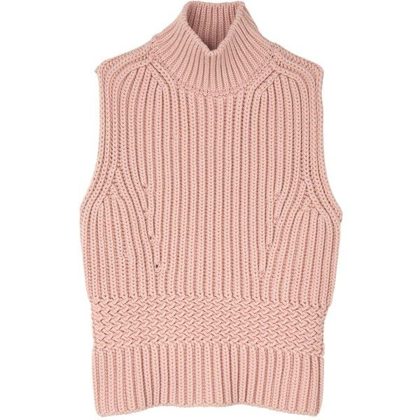Diesel Black Gold Mespunk Sleeveless Turtle Neck Jumper found on Polyvore featuring tops, sweaters, pink, turtle neck sweater, sleeveless turtleneck, sleeveless jumper, pink turtleneck sweater and slim fit sweater