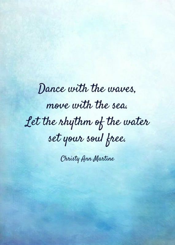 Beach Lover Gift Boho Decor Ocean Quote Dance with the Waves Move with the Sea Poem Print