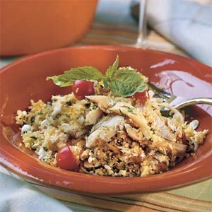 Mediterranean Chicken Couscous. You can cook your own chicken or buy a rotisserie chicken for more convenience.