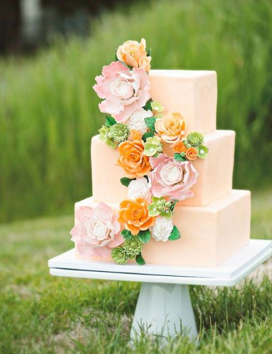 1000 Ideas About Peach Wedding Cakes On Pinterest Wedding Cakes With Flowe