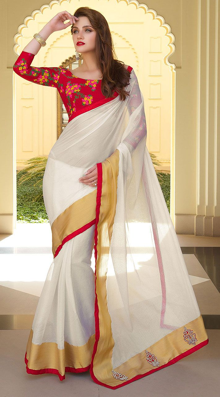 Lovely White Art Silk Beautiful Saree With Red Floral Blouse