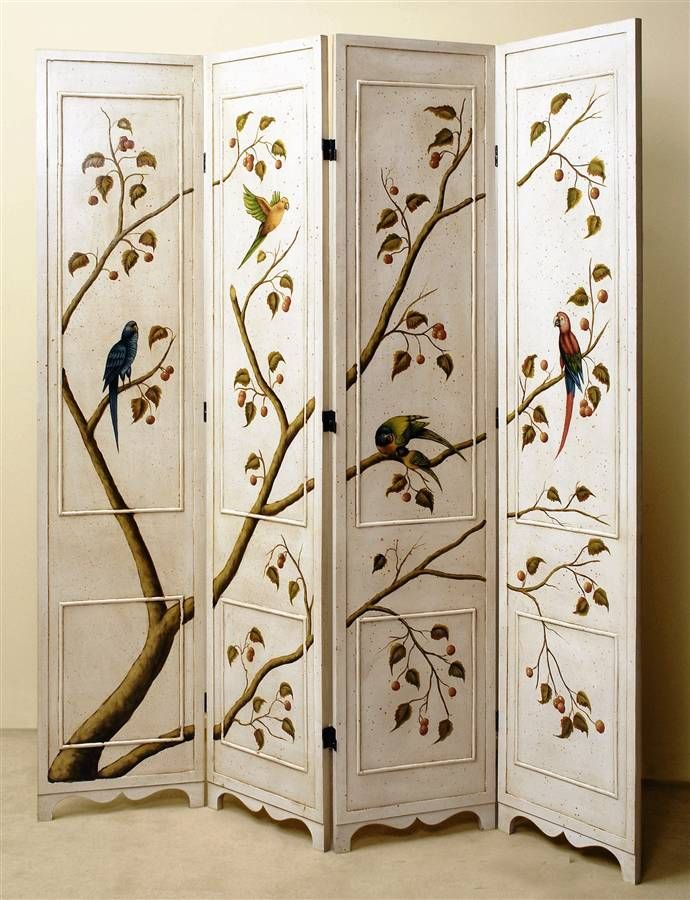 Four Panel Folding Screen in Antique White Finish w Hand Painted Birds & Tree