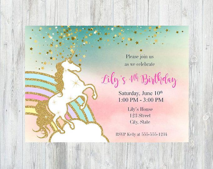 Unicornio cumpleaños invitación, invitación de unicornio, unicornio cumpleaños partido, arco iris para imprimir invitación de unicornio, Rainbow unicornio invitación
