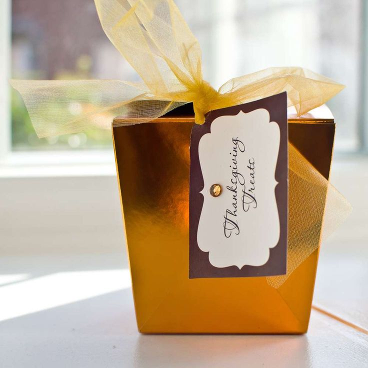 Gold favors at a Thanksgiving party! See more party planning ideas at CatchMyParty.com!