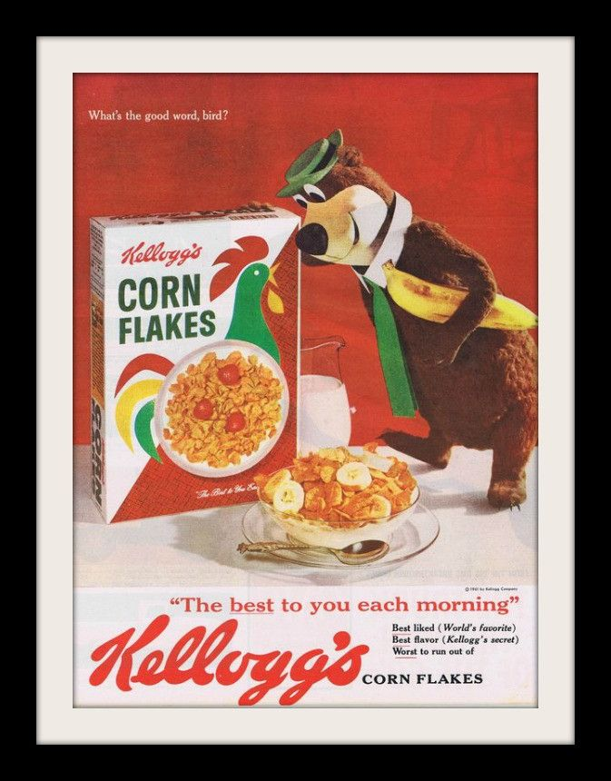 """An original 1961 advertisement for Kellogg's corn flake cereal. Art print ad of Yogi the Bear having his breakfast with bananas. """"The best to you each morning"""" -A 1961 vintage Kellogg's promotional ad"""