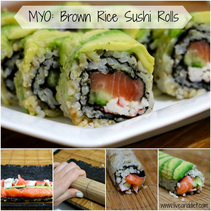 Make Your Own Sushi. Salmon, crab, and cucumber brown rice sushi rolls with avocado on the outside! #healthy #sushi