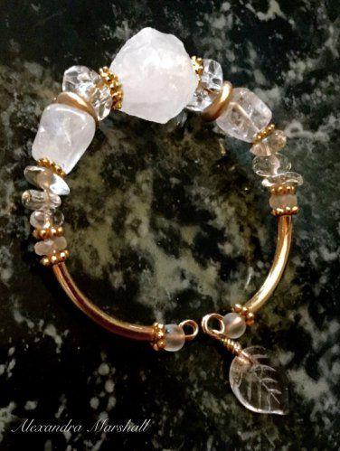 Ladies Clear & Frosty White Rock Crystal Memory Wire Bracelet