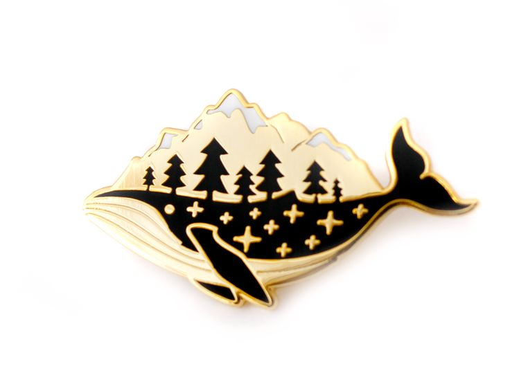 "The perfect gift for someone who whale-y loves the outdoors. THE NITTY GRITTY ✎ One 1.5-inch (38mm) hard enamel pin, made from my original illustration ✎ Shiny gold metal ✎ Two rubber pin backs ✎ ""OH"