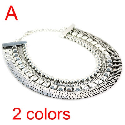 Fashion Costume Jewellery Silver Watch Chain Collar Statement Necklace NL-1607A