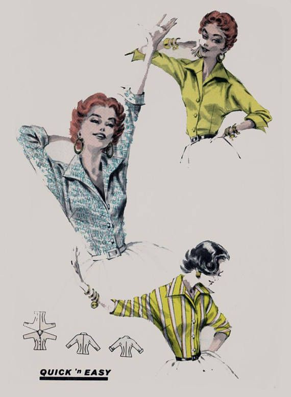 Butterick 7731 Quick N Easy Italian Shirt Copyright - 1956 - easy to sew - View A has stand-up collar, cut-in-one below-elbow sleeves with cuffs - View B has no cuffs on sleeves Misses 14 Bust - 32 Waist - 26 Hip - 35 Cut & Complete FREE SHIPPING OFFER!!! Buy 3 patterns or more and I