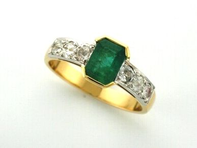 'ELYSIA' --  Elegant Emerald & Diamond Dress Ring Designed with Client's Loose Emerald &   Old Cut Diamonds from Cherished Family Ring -  Custom made in  18ct gold.  A New Memory!