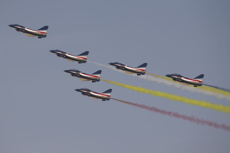 https://flic.kr/p/ZxWXvJ | The Chengdu J-10 NATO reporting name : Firebird | The August 1st or Ba Yi Aerobatics Team (Chinese: 八一飞行表演队) is the aerobatic demonstration team of the People's Liberation Army Air Force.  _U1T3779