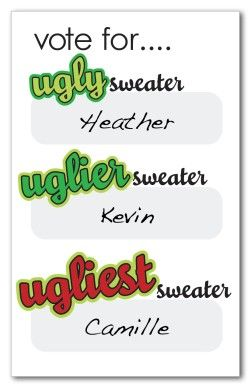 Ugly Sweater Voting Ballots
