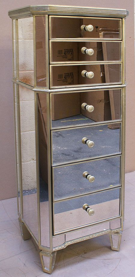 Antique Style Venetian Mirrored Slim Tallboy Chest Of Drawers   Buy From  The French Furniture Specialist