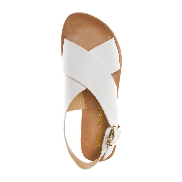 Minimal + Classic: white crossover sandals