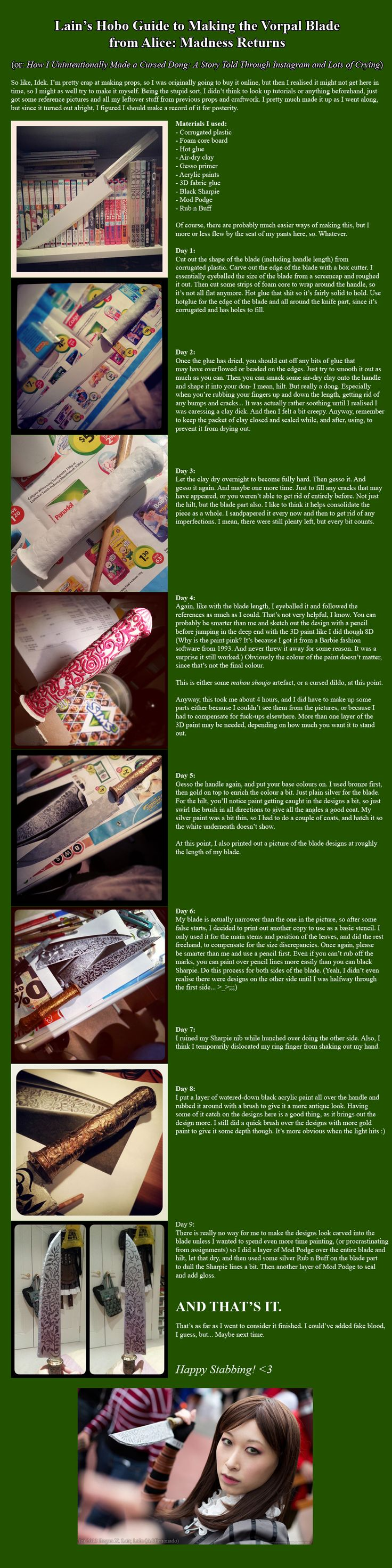 Lain's Hobo Guide to Making the Vorpal Blade by lain578.deviantart.com on @deviantART