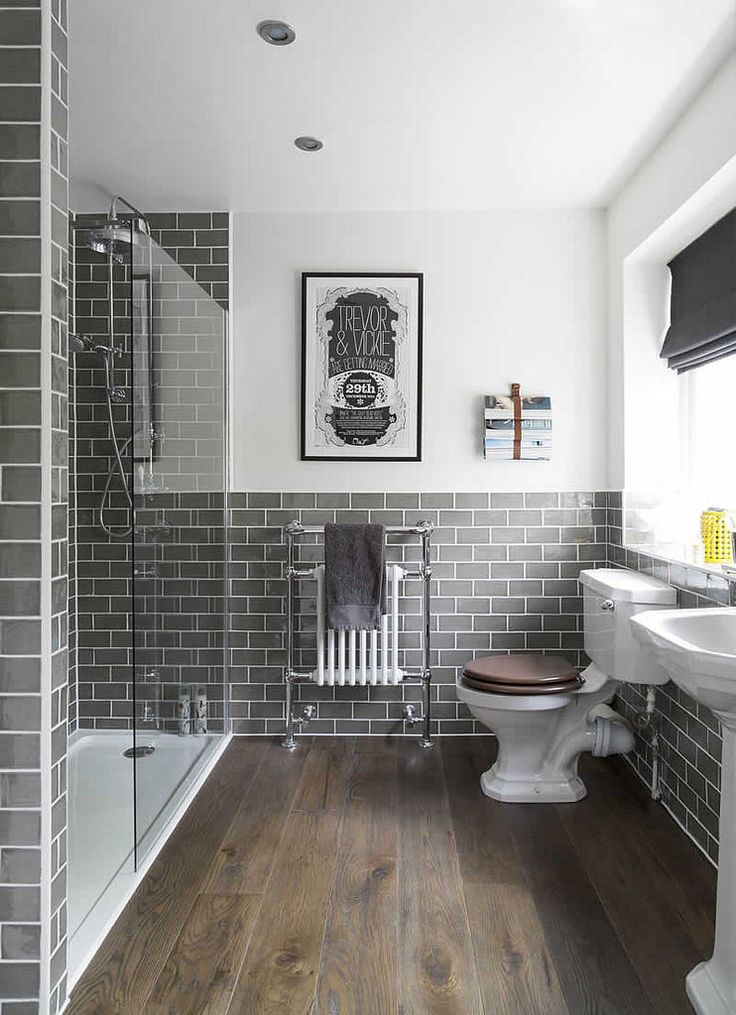 Gray and white, vintage style bathroom