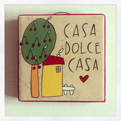 Casa Dolce Casa Mattonella di recuper illustrata. HandMade