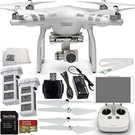 DJI Phantom 3 Advanced Quadcopter Drone with 1080p HD Video Camera Bundle with Accessories (7 Items) 1080p full HD video recording with fully stabilized 3-axis gimbal Lightbridge digital streaming allows live viewing of 720p video (full resolution video is simultaneously recorded on the internal microSD card) Vision Positioning system allows stable flight indoors Included flight battery and rechargable remote controller means this system is ready to fly out of the box DJI Pilot app for iOS…
