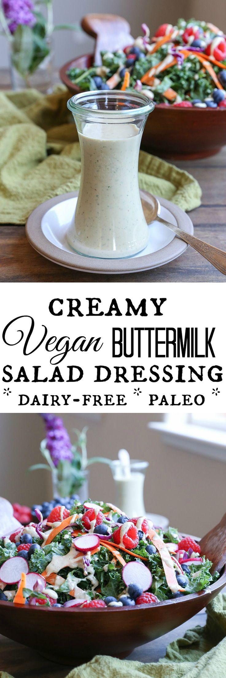 "Vegan Buttermilk Salad Dressing - creamy, delicious vegan ""buttermilk"" dressing that only requires a handful of ingredients and is paleo friendly #vegan #vegetarian #salad #recipe"