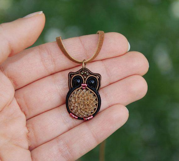 Miniature Owl Necklace, Woodland animal totem jewelry, Tiny forest bird pendant, Ethnic fiber soutache embroidery, Black brown beige flower