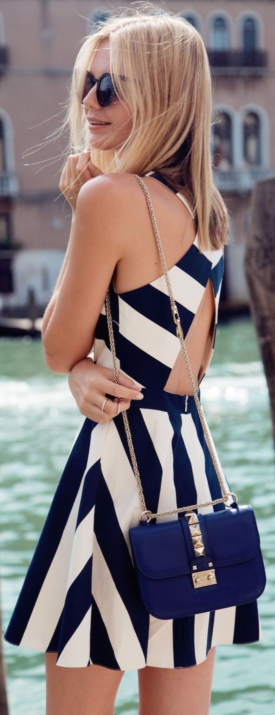 Style fashion clothing women outfit summer dress striped white blue shoulder bag sunglasses blond girl street
