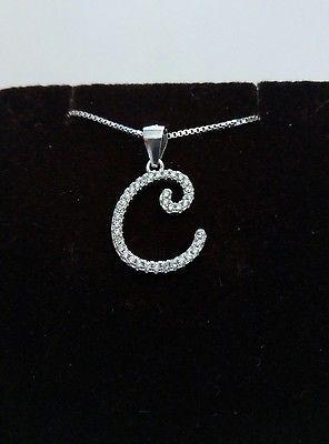 collana ciondolo in argento iniziale 925 lettera C completa New fashion moda