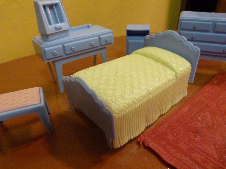 vintage 1950u0027s miniature dollu0027s house size furniture bedroom set with rug ebay