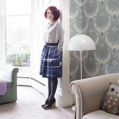 Maggie O'Farrell in LIving Room - love the Farrow & Ball wallpaper