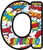 Free printable superheroes, comic strip words, onomatopoeia lettering sets.  Great for classroom bulletin board displays on comics, superheroes or for birthday banners etc.