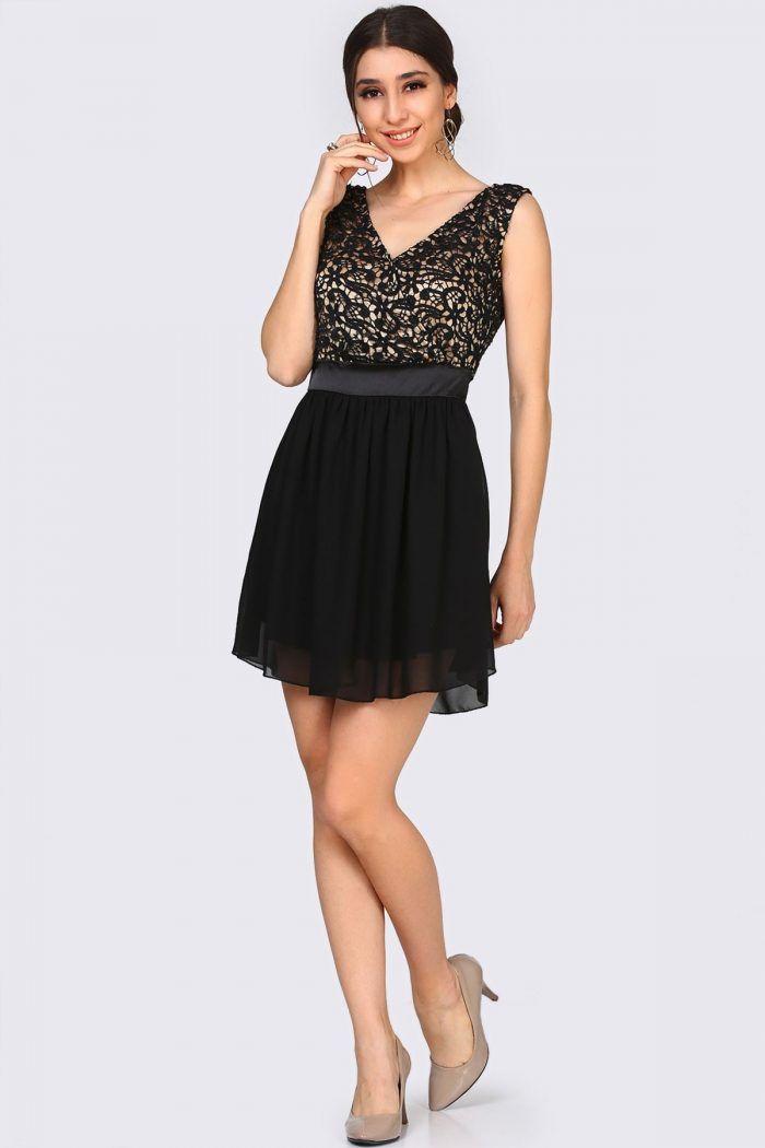 Sırt Fermuar Ön Kruvaze Dantel İşlemeli Siyah Elbise 99TL