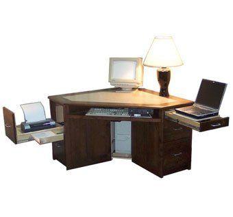 hand made hardwood corner desk for laptop computer by pat morrison craftsman
