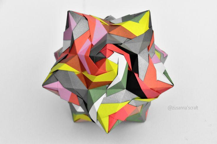 Origami Kusudama Rose Folded by #zusannascraft Photo by #Zusannasphotography  #myfolding #origami_art #kusudama #colorful #papercraft #happyfolding  #lovely