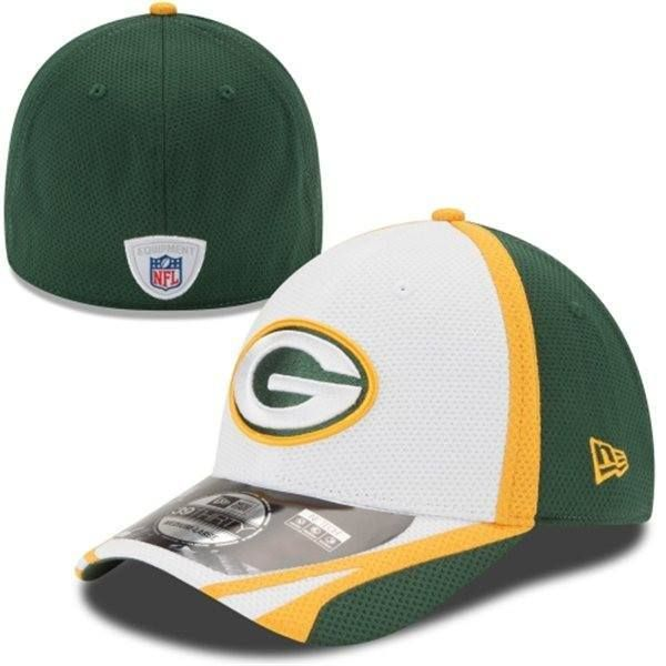 Mens New Era Green Bay Packers Training 39THIRTY Flex Hat-White ... ec0d1a9e1