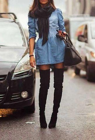 Women's Black Scarf, Blue Denim Skater Dress, Black Leather Satchel Bag, Black Polka Dot Tights, and Black Suede Over The Knee Boots