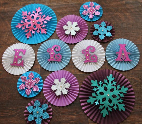 Frozen Themed Paper Rosettes- Set of 12, Frozen Themed Birthday, Frozen Decorations, Snowflake Decorations on Etsy, $35.00
