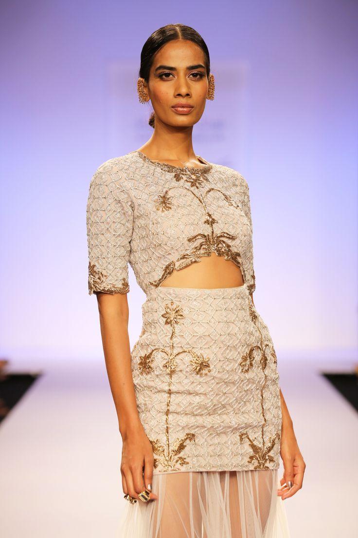 SAHARA Stone Shrub Embroidered Cutout Choli worn with Stone Tulle Skirt with Stone Zigzag Benarsi Border www.payalsinghal.com/off-the-runway/sahara