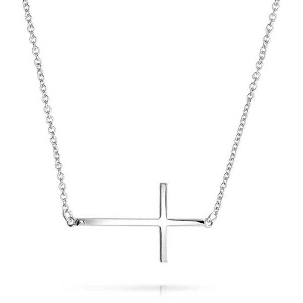 Bling Jewelry Him On My Side Cross ($21) ❤ liked on Polyvore featuring jewelry, necklaces, grey, necklaces pendants, pendant-necklaces, side cross necklace, sideways cross necklace, sterling silver pendant, side cross jewelry and sideways cross pendant necklace