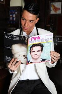 Bobbie Norris of TOWIE Reading Pink Parenting Magazine
