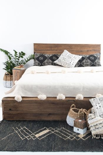 Hendrix & Harlow 'The Dreamer' Platform Bed - Our Platform Bed is a stand out piece for your bedroom. Crafted by hand in recycled hardwood with a raw finish and amazing headboard detail. Available in Double, King and Queen Each one is made to order and