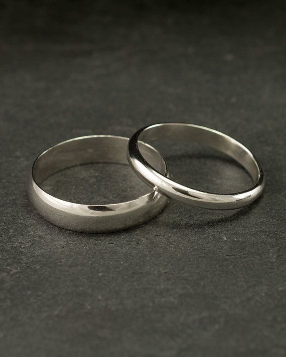 Wedding Band Set Modern Wedding Rings Sterling Silver by Artulia, $98.00