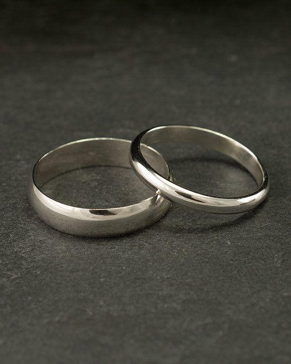 Wedding Band Set Wedding Rings Silver Wedding Rings by Artulia