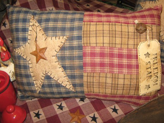 "Very Primitive Quilt Patchwork Large  Artist Original Design 1033 Deco Pillow - "" Freedom Star ""  America USA"
