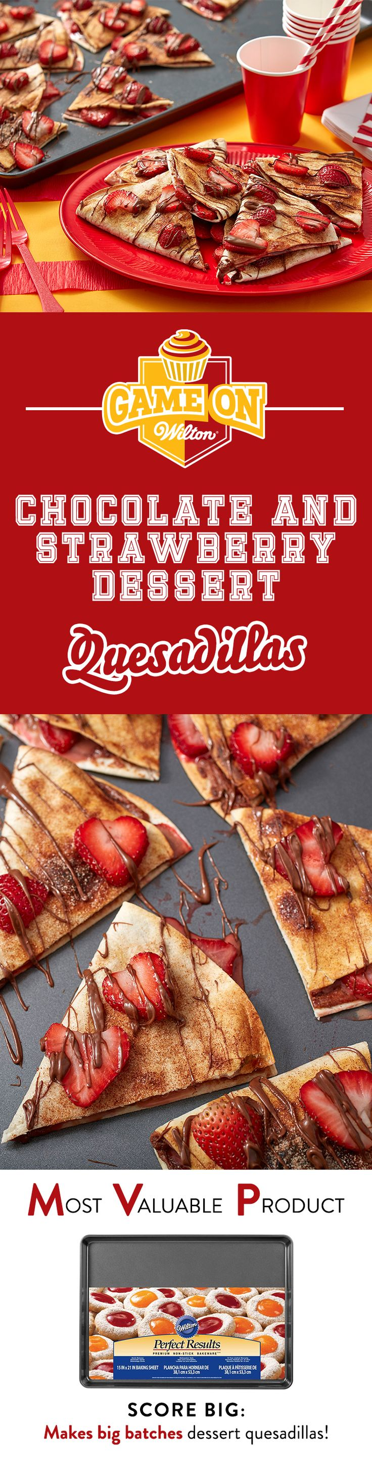 Chocolate and Strawberry Dessert Quesadillas Recipe - This is a game changer. Cream cheese dessert quesadillas! This quick game day snack combines chocolate hazelnut and strawberry cream cheese filling with a crunchy cinnamon sugar crumble. Serve at your tailgate or football game party!