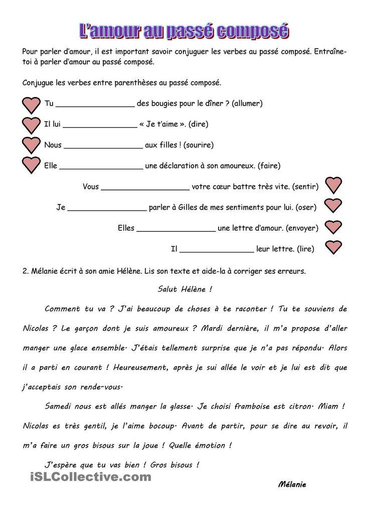 Lamour au passé composé | GRATUIT FLE fiches pédagogiques