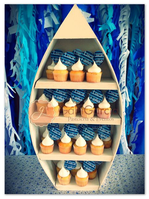Cupcakes at a Sailor Birthday Party!  See more party ideas at CatchMyParty.com!