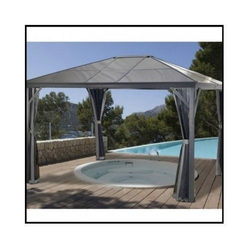 Outdoor Patio Gazebo Canopy Aluminum Frame Metal Hardtop 10x10 Roof Awning